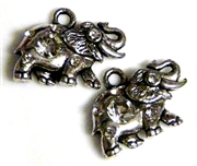 2pc antique silver rhinestone elephant charms 23x16mm