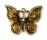 1pc rhinestone solid butterfly pendant gold plated 50mm