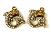 1pc rhinestone charm 18mm curled fish gold plated