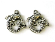 1pc rhinestone charm 18mm curled fish silver plated