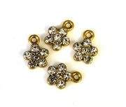 4pc rhinestone charm 10mm flowers gold plated