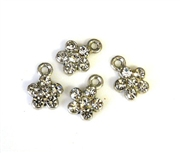 4pc rhinestone charm 10mm flowers silver plated