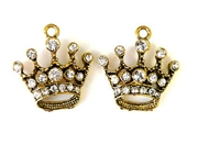2pc rhinestone charm regal crown gold plated 23mm