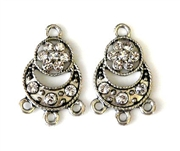 2pc rhinestone charm 3 strand drop 23mm silver plated