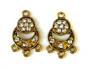 2pc rhinestone charm 3 strand drop 23mm gold plated