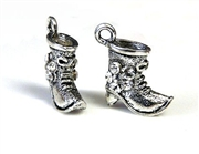 2pc rhinestone charm boots silver plated 15mm