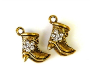 2pc rhinestone charm boots gold plated 15mm