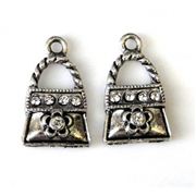 2pc rhinestone charm purse silver plated 18mm