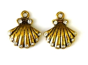 2pc rhinestone charm shell gold plated 17mm