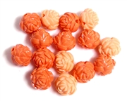 6pc Resin Antique Flower Beads 10mm Coral Mix