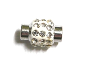 1pc Rhinestone Magnetic Clasp Silver / Clear Crystal