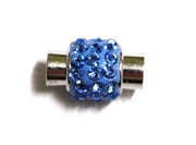1pc Rhinestone Magnetic Clasp Silver / Sapphire Blue