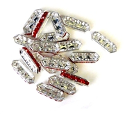 6pc rhinestone 3 strand spacers silver plated siam red