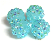 2pc 10mm acrylic rhinestone rounds aquamarine