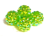 2pc 10mm acrylic rhinestone rounds lime