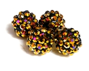 2pc 10mm acrylic rhinestone rounds bronze