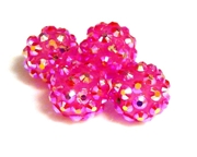 2pc 10mm acrylic rhinestone rounds fuchsia