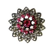 1pc swarovski crystal filigree nickel rose 26mm