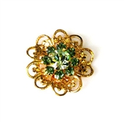 1pc swarovski crystal filigree wavy peridot 22mm