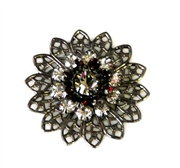 1pc swarovski crystal filigree nickel mocca silver 26mm