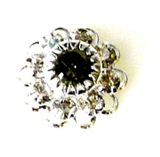 1pc swarovski crystal filigree flower small 10mm black diamond silver