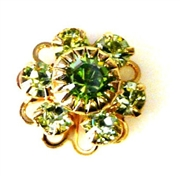 1pc swarovski crystal filigree flower small 10mm peridot green gold
