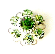 1pc swarovski crystal filigree flower small 10mm peridot green silver