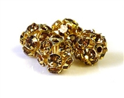 4pc rhinestone balls gold plated light colorado topaz 10mm