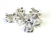 1pc 6mm rhinestone beadcap silver plated clear