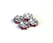 4pc 6mm silver plated rhinestone rondelles pink