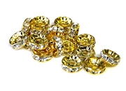 4pc 10mm rhinestone rondelle gold plated crystal clear