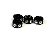 2pc 5mm rhinestone rondelle black clear crystal