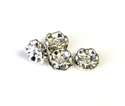 6pc 8mm rhinestone rondelles silver plated crystal