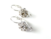 1pr silver plated hinged earring wires crystal flower