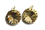 1pc Crystal Rivoli Stone 14mm Light Colorado Topaz with Setting