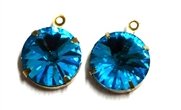 1pc Crystal Rivoli Stone 14mm Aqua Blue with Setting