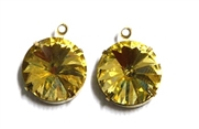 1pc Crystal Rivoli Stone 14mm Yellow with Setting