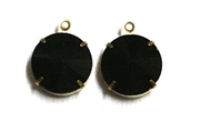 1pc Crystal Rivoli Stone 14mm Black  with Setting