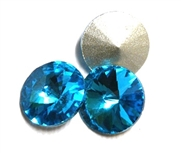 3pc Crystal Rivoli Stone 14mm Aquamarine Blue