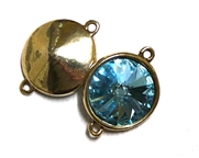 1pc Swarovski Crystal Rivoli Stone 14mm Aqua Gold 2 Loop Setting
