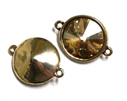 1pc Swarovski Crystal Rivoli Stone 14mm Golden Shadow 2 Loop Setting