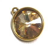 1pc Swarovski Crystal Rivoli Stone 14mm Golden Shadow 1 Loop Setting