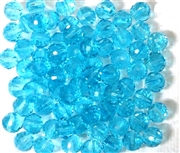 20pc Faceted Round Crystals Aquamarine Blue 6mm