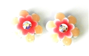 2pc flower enamel slider blush 15mm