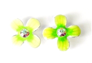 2pc fragipani enamel slider green 15mm