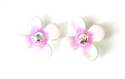 2pc fragipani enamel slider pink 15mm