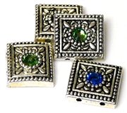 4pc silver plated slider beads assorted square