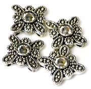 4pc silver plated flower clear slider beads