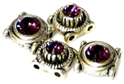 4pc silver plated slider beads amethyst round