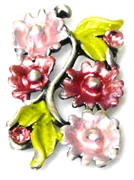 1pc antique silver slider bead enamel pink flowers